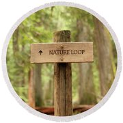 Nature Loop Sign Round Beach Towel