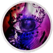 Nature N Music Abstract Round Beach Towel