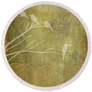 Nature Study In Gold  Round Beach Towel