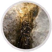 Natures Creativity - Golden Crevasse Round Beach Towel