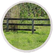 Natures Fence Round Beach Towel