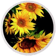 Natures Sunflower Bouquet Round Beach Towel