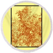 Natures Trees In Brown And Yellow Round Beach Towel