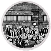 Naughty Or Nice In B W Round Beach Towel