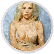 Naughty Scarlett Nude Round Beach Towel