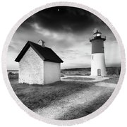 Nauset Light - Black And White Lighthouse Round Beach Towel