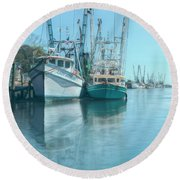 Nautical Aquas At The Harbor Round Beach Towel