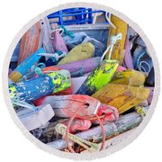 Nautical Riot Of Color Round Beach Towel