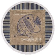 Nautical Stripes Butterfly Fish Round Beach Towel