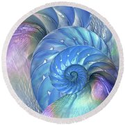 Nautilus Shells Blue And Purple Round Beach Towel by Gill Billington