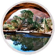 Navajo Arch Reflection Round Beach Towel