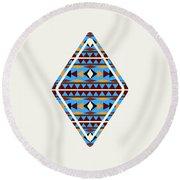 Navajo Blue Pattern Art Round Beach Towel