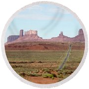 Navajo Flag At Monument Valley Round Beach Towel