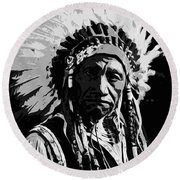Navajo Indian Chief Round Beach Towel