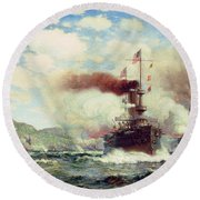 Naval Battle Explosion Round Beach Towel by James Gale Tyler