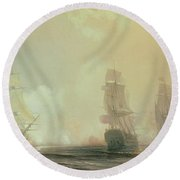 Naval Battle In Chesapeake Bay Round Beach Towel by Jean Antoine Theodore Gudin