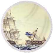 Naval Engagement Between The Uss Frigate Constitution And Hms Frigate Java Round Beach Towel
