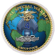 Naval Special Warfare Group Four - N S W G-4 - On Red Round Beach Towel