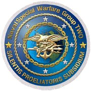 Naval Special Warfare Group Two - N S W G-2 - On Red Round Beach Towel