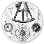 Navigational Instruments, E.g. Sextant Round Beach Towel