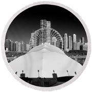 Navy Pier Wheel Round Beach Towel