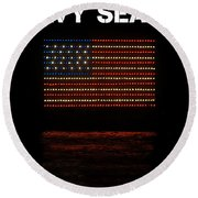 Navy Seals Flag Round Beach Towel
