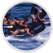 Navy Seals Practice High Speed Boat Round Beach Towel