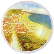Nazare Skyline Sunset Round Beach Towel