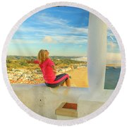 Nazare Viewpoint Woman Round Beach Towel