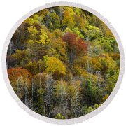 Nc Fall Foliage 0561 Round Beach Towel