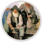 N.c. Wyeth: The Pay Stage Round Beach Towel