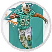 Ndamukong Suh Miami Dolphins Oil Art Round Beach Towel