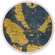 Indochinese Peninsula And Major Islands Of Indonesia Round Beach Towel