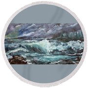 New England Coastline Round Beach Towel