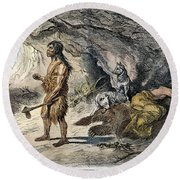 Neanderthal Man Round Beach Towel