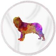 Napolitan Mastiff In Watercolor Round Beach Towel