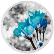 Near Bloom Blue Round Beach Towel
