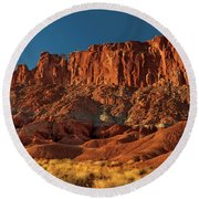 Near The Fluted Wall In Capitol Reef National Park Utah Round Beach Towel