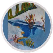 Near The Lake Round Beach Towel