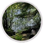 Near Water Of The Forest Lake. Round Beach Towel