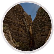 Nearing The Slot Canyon - Tent Rocks Round Beach Towel