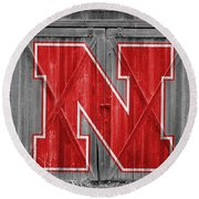 Nebraska Cornhuskers Barn Doors Round Beach Towel