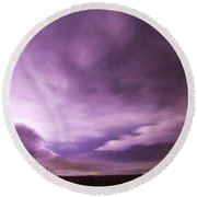 Nebraska Night Thunderstorms 007 Round Beach Towel