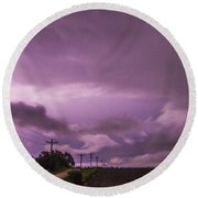 Nebraska Night Thunderstorms 010 Round Beach Towel