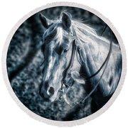 Nebraska Rodeo Roping Horse... Round Beach Towel