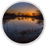 Nebraska Sunset Round Beach Towel