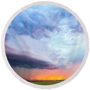Nebraska Thunderstorm Eye Candy 021 Round Beach Towel