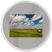 Nebraska Wheat Fields Round Beach Towel