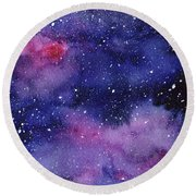 Nebula Watercolor Galaxy Round Beach Towel