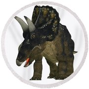 Nedoceratops On White Round Beach Towel